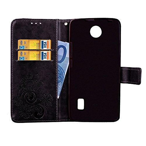 EKINHUI Case Cover Double Magnetic Back Sucktion Retro Style PU Leder Flip Stand Case mit Kickstand und Wallet Beutel Funktion für Huawei Y635 ( Color : Blue ) Black
