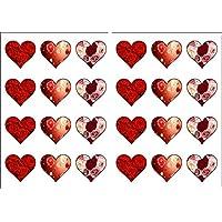 24A Forma Di Cuore San Valentino amore rose commestibile carta di riso topper per torta decorazioni–3di ogni