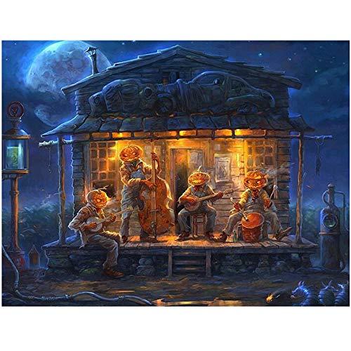 LEELIYA 5D DIY Diamant Malerei Halloween Kürbis Kreuzstich Bohrmaschine Diamant Stickerei Gemälde Von Nummer,30X40cm