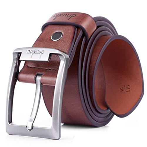 Malloom® Hombres marea retro cuero de la PU cinturón de punta única Negocio Cinturones de hebilla de metal (marrón)