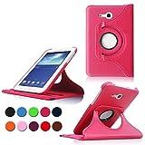 Samsung Tab 3 Lite 7.0 Case,Hot Rosa 360° Drehbares Ledertasche Schutzhülle Leder Tasche Samsung Galaxy Tab 3 Lite 7.0 T110 T111 (7 Zoll) Hülle Leder Etui Flip Case Cover mit Schwenkbar flexiblem Ständer