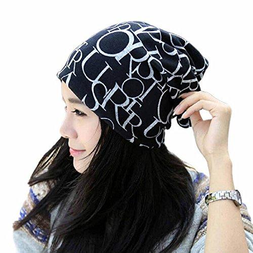 Hotsellhome Classic Slouchy Beanie Fashion Hip-Hop English Letter Multi Purpose Cotton Baggy Hat Unisex Scarf Snood Turban Headwear For Chemo alopecia Hair Loss