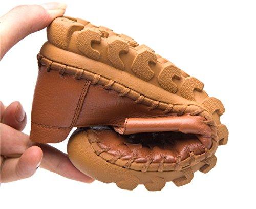 Donne delle nuove Pattini singoli Scarpe Tempo libero Moda tacco basso Testa rotonda Pelle di cuoio genuino Pelle di preparazione traspirante antisdrucciolo Brown