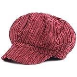 Kuyou Schirmmütze Warme Barett Mütze mit Schild Damen Winter Kappe Hut (Weinrot)