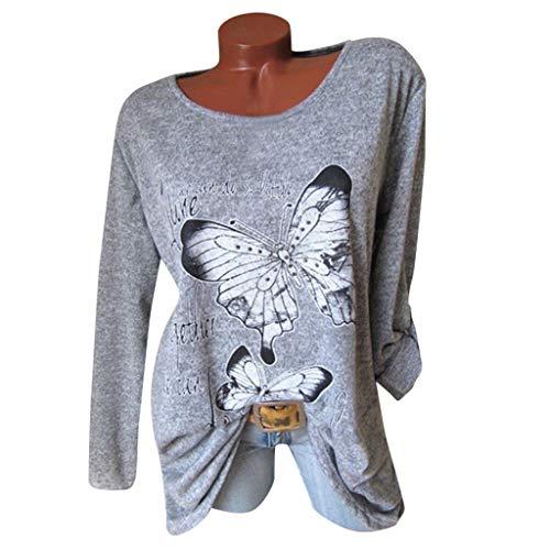 PorLous Bluse, 2019 Weiblich Frühling Sommer Kleidung Mode Frauen Kühlen Art- und Weisehülsen-Korn-Blusen-Schmetterlings-Druck-Baumwolloberseite Bequem.