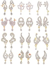SKN Silver And Golden American Diamond Flower Peacock Hanging Stud Earrings Combo For Women & Girls (Set Of 12...