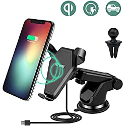 Qi Wireless Car Charger, Keyye Fast Wireless Charger Cellphone Air Vent Stand Holder with Quick Charge Adapter for Samsung Galaxy Note 8/S8/S8 Plus/S7/S7 Edge/S6/S6 Edge/Note 5,iPhone 8/ 8 Plus/X (2018) …