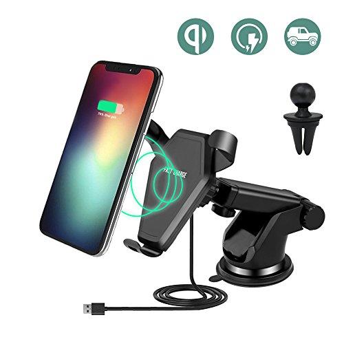 Chargeur Sans Fil Rapide Voiture, Keyye Qi Chargeur Auto Sans Fil 2 en 1 Support Téléphone Voiture Chargeur à Induction Air Vent pour Samsung Galaxy Note 8/S9/S8/S8 Plus/S7/S7 Edge/S6/S6 Edge/Note 5,iPhone 8/ 8 Plus/X