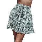 70f28f93e9a Falda Plisada con Cintura Elástica para Mujeres Mujeres Verano Casual Bohe  Faldas De Mujer con Volantes Falda De Verano Mujer Faldas Estampado Flor  (Azul ...