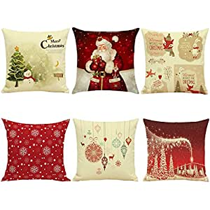 Hoomall lot de 6 housses de coussin decoration no l lit for Decoration de noel amazon