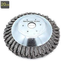 Tête de désherbage Fil d'acier, 6/8 Pouce Brosse rotative disque de pinceau à roue pour Outils de Pelouse Jardin Agriculture - Trou intérieur 25.4mm (8 Pouce)