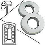 magicdo® Small Plata Moderno Número de Casa, número de apariencia moderna buzón números Pegatina, 3d metal Shining reflectante Número, Self Stick Número, flotante, número de casa número de vinilo de señales, 8, 8