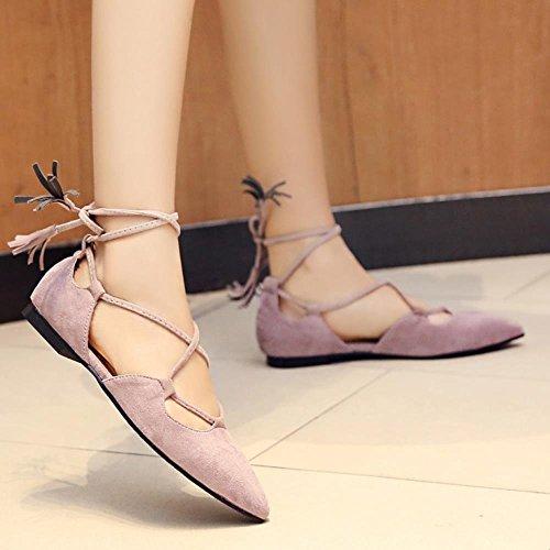COOLCEPT Damen Klassische Schnueren Flache Summer Schuhe Bohemia Sandalen Violett IEX5F5pm