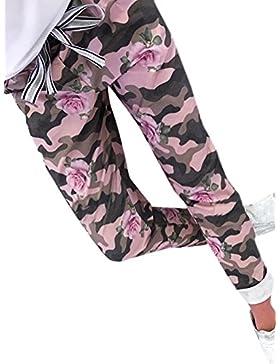 OUFour Mujeres Camuflaje Lentejuelas Costura Pantalones con Vendaje Casual Largo Pants Harem Pantalón