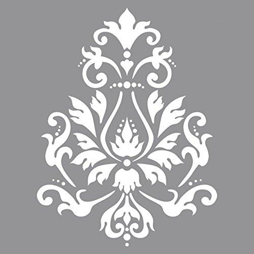Rayher Hobby pochoir sous blister 30,5 x 30,5 cm – pochoir peinture motif brocart en polyester – pochoir décoratif réutilisable pour Scrapbooking, décoration murale, album photo, etc. – gris
