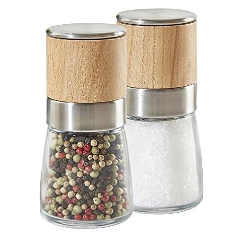 Kit 2 pièces moulin à épices Buonostar en verre/bois/inox avec broyeur en céramique. Multifonction : broie le sel, le poivre, les épices, les herbes séchées
