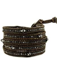 Bracelet de cuir avec des pierres et d'autres éléments décoratifs, réglables pour les femme et homme - Couleur Brun et Noir