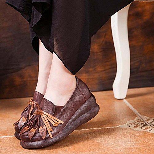 Chaussure 6cm Wedege Talon Pointu Chaussures Rondes Soulever Des Chaussures De Course Chaussures De Grève Femme Femmes Gland Fleur National Vent Casual Chaussures Élastique Chaussures Robe 2017 Automne Et Hiver Brown