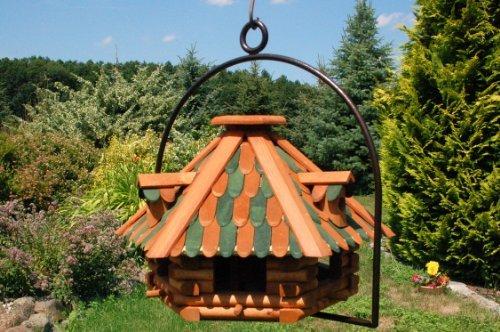 XXL Vogelhaus mit Gauben Nr13 Dach grün und Bügel zum aufhängen von Vogelhaus, Nistkasten, Vogelhäuschen, Futterhaus, Vogelvilla und Vogelhäusern, feuerverzinkt und pulverbeschichtet, rostfrei, hängend