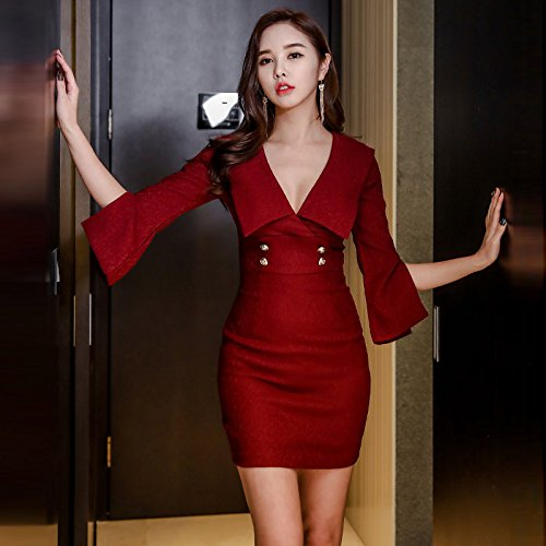 MOMO Frühling und Herbst Nightwear Slim Frauen Sexy V-Ausschnitt Lautsprecher Ärmel War Dünn Schritt Zurück Pack Hüfte Kleid,Rot,M (Kleid Krawatte Zurück Stricken)