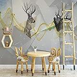 YUANLINGWEI Wandbild Tapete Vintage Wandbild Tapete Benutzerdefinierte Holzbrücke Und Elch Tier Muster Schlafzimmer Tapeten Für Wohnzimmer,210Cm (H) X 290Cm (W)