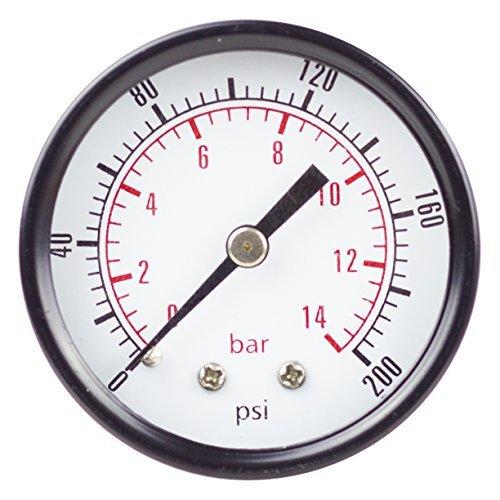 PneumaticPlus PSB20-200 Air Pressure Gauge 2 Dial, Center Back Mount, 1/4 NPT, 0-200 PSI by PneumaticPlus (Back Mount Npt)
