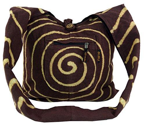 Guru-shop Bag Sadhu Spirale - Marrone, Uomini / Donne, Il Cotone, 40x40x10 Cm, Stoffa Colorata Borsa Marrone