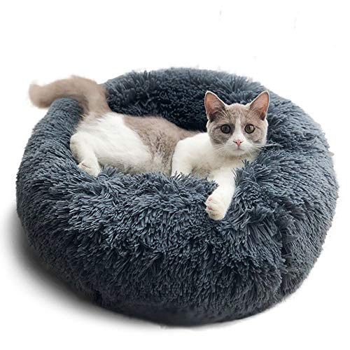 Hianiquaime Weich Warm Langes Plüsch Haustierbett Donut Form Hund Katze Rund Bett Grau 70 cm -