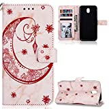ZCXG Compatible with Samsung Galaxy J7 2017 J730 Case Marble Moon Rose Gold Leather Flip Wallet Clear View Back Cover Shockproof AntiScratch Soft Phone Protective Card Slot Case for Galaxy J7 2017