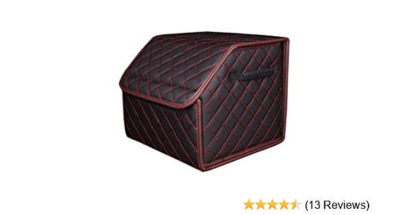 Luxury Leather Foldable Trunk Storage for Interior SUV EverLux Auto Trunk Organizer for Car Sedan Black /& Red, S Van Pickup Portable Grocery Cargo Container