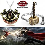 (2 Pcs AVENGER SET) - IRONMAN HANDS (GOLD) & THOR HAMMER (GOLD) IMPORTED PENDANTS WITH CHAIN. LADY HAWK DESIGNER SERIES 2018. ❤ ALSO CHECK FOR LATEST ARRIVALS - NOW ON SALE IN AMAZON - RINGS - KEYCHAINS - NECKLACE - BRACELET & T SHIRT - CAP