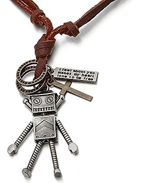 Vintage Roboter Kreuz Anhänger Herren Damen Jungen Halskette mit Verstellbaren Lederband
