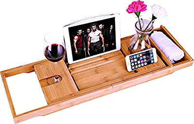 Luxury Bamboo Bathtub Caddy Bath Tub Tray with Extending Sides Built in Book Tablet Holder Cellphone Tray & Integrated Wineglass Holder and Other Accessories Placement from UNUBER