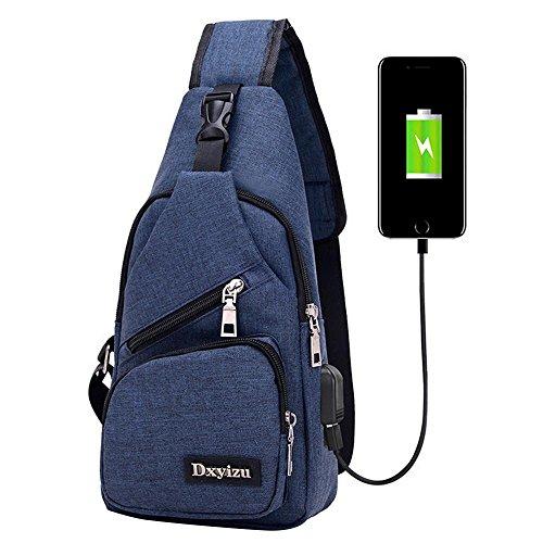 Aolvo Rucksack mit USB Lade-Port Anti-Diebstahl für Damen Herren, Casual Sling Bag Schulter Umhängetasche Brust Tasche Für Reisen/Wandern/Outdoor Sport, dunkelblau -