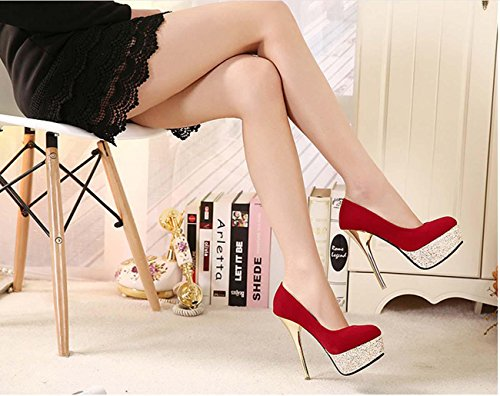NobS Chaussures Femmes Imperméable Chaussures Talons Chaussures Discothèques Basse Chaussures Sequins Chaussures Red