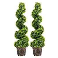 INMOZATA Pair of Artificial Topiary Swirl Trees Boxwood Spiral Trees Plant 4t/120cm High for Garden Indoors Outdoor