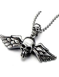 Gótico, Cráneo Alas ángel, Collar con Colgante de Hombre Mujer, Acero Inoxidable, Biker, Diablo,Demonio, Bola Cadena 75CM