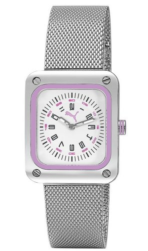 Puma Time Women's Quartz Watch Frame Metal Silver Purple PU102562002 with Metal Strap