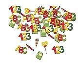 Lively Moments Holz - Konfetti ABC, 123 und Schultüten zur Einschulung 12 Stück / Schulanfang / Tischdekoration
