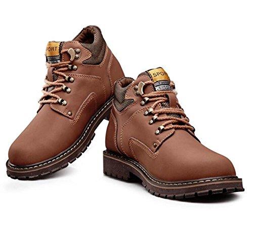 Autunno E Inverno Uomini Alto Aiuto Grande Testa Scarpe Da Uomo Martin Moda Caldo Più Cotone Stivali LightBrownShoes