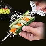 Lot de 2 couteaux de garnir pour légumes/fruits en spirale - Couteau à spirale manuel - Outil de sculpture parfait pour les concombres, carottes, pommes de terre (taille et petite taille)