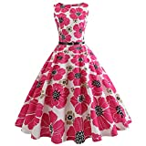 OverDose Damen Karneval Unregelmäßigen Stil Frauen O Neck Blumendruck Vintage Kleid Sleeveless Party Prom Bar Dance Schlank Charming Swing Kleid Rock Dirndl(Hot pink,EU-40/CN-2XL)
