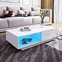 Modern RGB LED Light Coffee Tea Table with Storage Drawers & Shelvs High Gloss Living Room Furniture (White, 1 Drawer, 95 * 55 * 31cm)