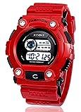 Vendita Calda Sport Orologio da Polso per Uomo Tondo Orologio Digitale Impermeabile con Funzioni di Allarme Cronografo Luminoso e Calendario - Rosso
