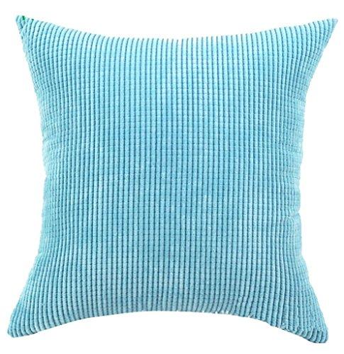 Quadrat/Rechteck solide Leinen Baumwolle Kord Karo deko Kissen Kissen werfen Kissenbezug für Home Büro Bett Sofa Wohnzimmer Esszimmer Schlafzimmer Küche (See Blau) -