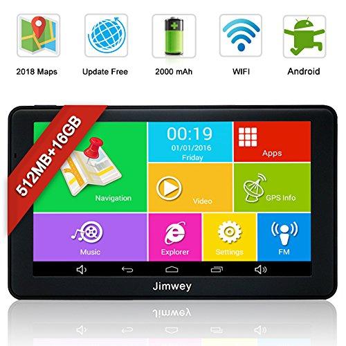 Jimwey GPS Navi Navigation für Auto LKW PKW KFZ 7 Zoll Bluetooth Android 16GB 512MB Kostenlos Kartenupdate Touchscreen, Navigationsgerät mit POI Blitzerwarnung Sprachführung Fahrspur 2018 EU UK Karte
