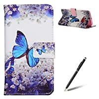 Samsung Galaxy S6 Edge case - Feeltech Elegant Luxury Flip PU Leather Slim Wallet Card Magnetic Closure Lanyard Wallet Protective Case Cover With [Free Black 2 in 1 Stylus] Shockproof Card Slots Holder Money Pouch Stand Function Book Design for Samsung Galaxy S6 Edge - Blue Butterfly