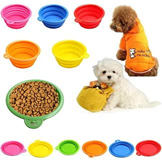 Estone Dog Cat Pet Portable Silicone Collapsible Travel Feeding Bowl Water Dish Feeder 51143qojIpL