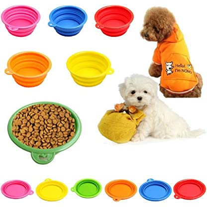 HeroNeo® Dog Cat Pet Portable Silicone Collapsible Travel Feeding Bowl Water Di. 1