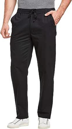 JustSun Mens Casual Chino Trousers Cotton Regular Fit Elastic Waist